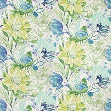 White/Green/Blue Botanical Decorator Fabric by Kravet