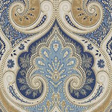 Indigo/Cashew Damask Decorator Fabric by Baker Lifestyle