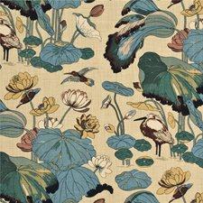 Aqua/Sand Print Decorator Fabric by G P & J Baker