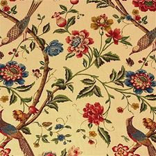 Cream/Brick Botanical Decorator Fabric by G P & J Baker