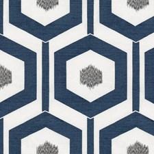 Ivory/Blue/Silver Geometric Decorator Fabric by Kravet