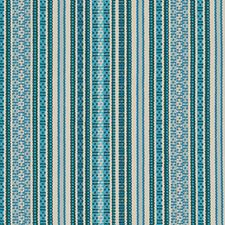 Blue/Turquoise Stripe Decorator Fabric by Duralee