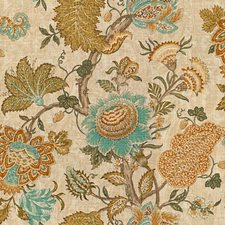 Gold/Turquoise/Ivory Jacobeans Decorator Fabric by Kravet