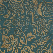 Gold On Peacock Wallcovering by Schumacher Wallpaper