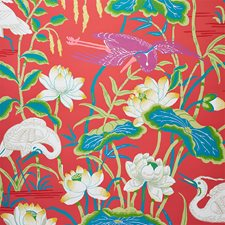 Red Wallcovering by Schumacher Wallpaper