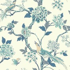 Blue/White/Off-white Animals Wallcovering by York