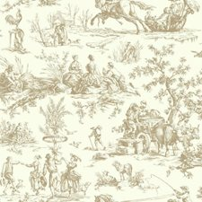 Brown/Off-white Toile Wallcovering by York