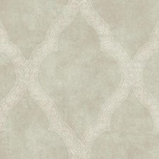 Pale Silvery Green/White/Taupe Trellis Wallcovering by York
