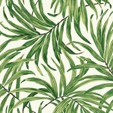 White/Light to Dark Green/Yellow Botanical Wallcovering by York