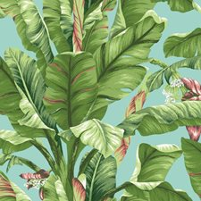 Aqua/Light Yellow/Green to Dark Green Tropical Wallcovering by York
