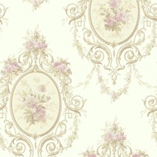 Pearlescent White/Beige/Taupe Floral Wallcovering by York