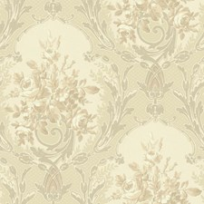 Pearlescent Grey/Cream/Bright Silver Floral Medium Wallcovering by York