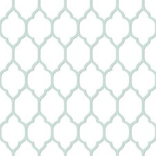 Rich Cream/Wedgwood Blue/Grey Blue Trellis Wallcovering by York
