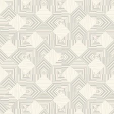 White/Gray/Silver Geometrics Wallcovering by York