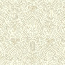 Cream/Light Grey/Beige Paisley Wallcovering by York