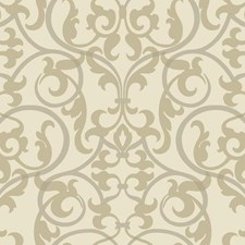 Cream/Metallic Silvery Gold/Soft Metallic Silver Traditional Wallcovering by York