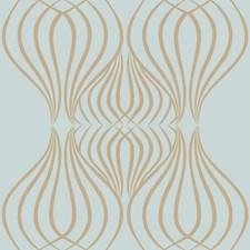 Blue/Gold Geometrics Wallcovering by York