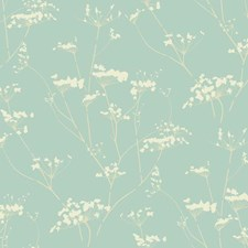 Glazed Glacier Blue/Whipped Cream Botanical Wallcovering by York