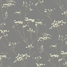 Glazed Pewter/Cork Tan/Butter Cream Frosting Botanical Wallcovering by York