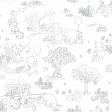 DY0224 Pooh & Friends Toile Sidewall by York