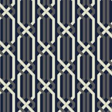Deep Navy Blue/Silver Sheen/Ecru Geometric Wallcovering by York