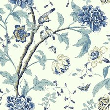White/Chambray Blue/Marine Blue Asian Wallcovering by York