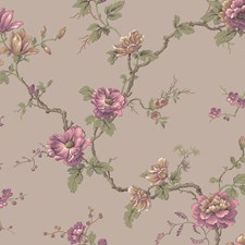 Pale Purplish Silver/Peach/Magenta Floral Wallcovering by York