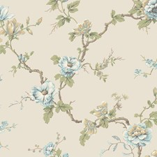 Cream/Aqua/Teal Floral Wallcovering by York
