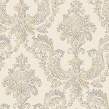 Cream/Gold/Light and Medium Grey Damask Wallcovering by York