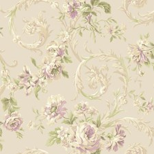 Pale Gold Satin/Lilac/Cream Floral Wallcovering by York