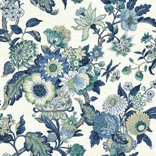 Cream/Dark Blue/Medium Blue Floral Wallcovering by York