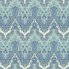 Medium Blue/Aqua/White Chevron Wallcovering by York