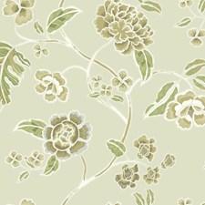 Beige Satin/Dark Brown/Medium Brown Floral Wallcovering by York
