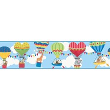 Sky Blue/Red/Pink Animals Wallcovering by York