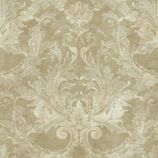 Pale Metallic Gold/Silver/Grey Damask Wallcovering by York