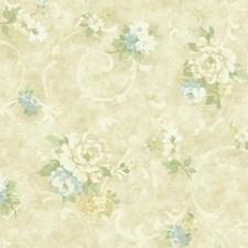 Beige/Light to Dark Blue/Medium to Dark Green Floral Medium Wallcovering by York