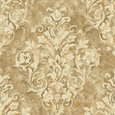 Gold/Cream/Taupe Damask Wallcovering by York