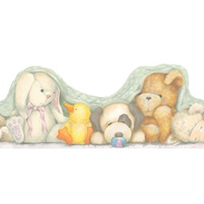 Mint Green/Ivory/Yellow Stuffed Animals Wallcovering by York