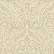 Cream/Beige/Glittering Silver Damask Wallcovering by York