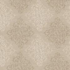 Deep Brown Beige/Pale Beige/Antique Gold Pearl Metallic Damask Wallcovering by York