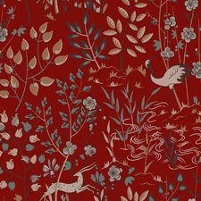 Deep Red/Tan/Beige Asian Wallcovering by York