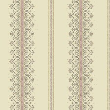 Cream/Taupe/Magenta Stripes Wallcovering by York