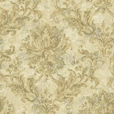Sand/Golden Sheen/Grey Damask Wallcovering by York