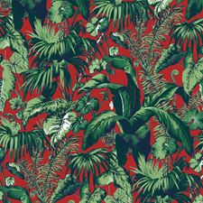 Red Tropical Wallcovering by Brunschwig & Fils