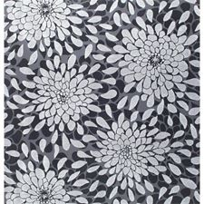 Silver Glitter/Black/Black Lacquer Flowers Wallcovering by York