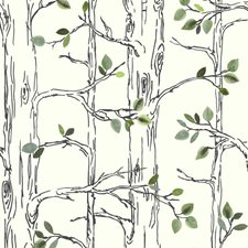 White/Navy Blue/Teal Botanical Wallcovering by York
