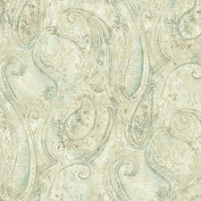 Cream/Beige/Aqua Paisley Wallcovering by York