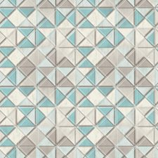 Beige/Taupe/Turquoise Geometrics Wallcovering by York