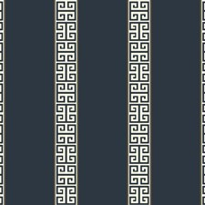 Dark Blue/White/Gold Stripes Wallcovering by York