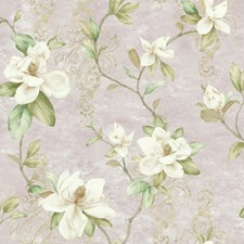 Pale Lavender/Cream/Brown Floral Wallcovering by York